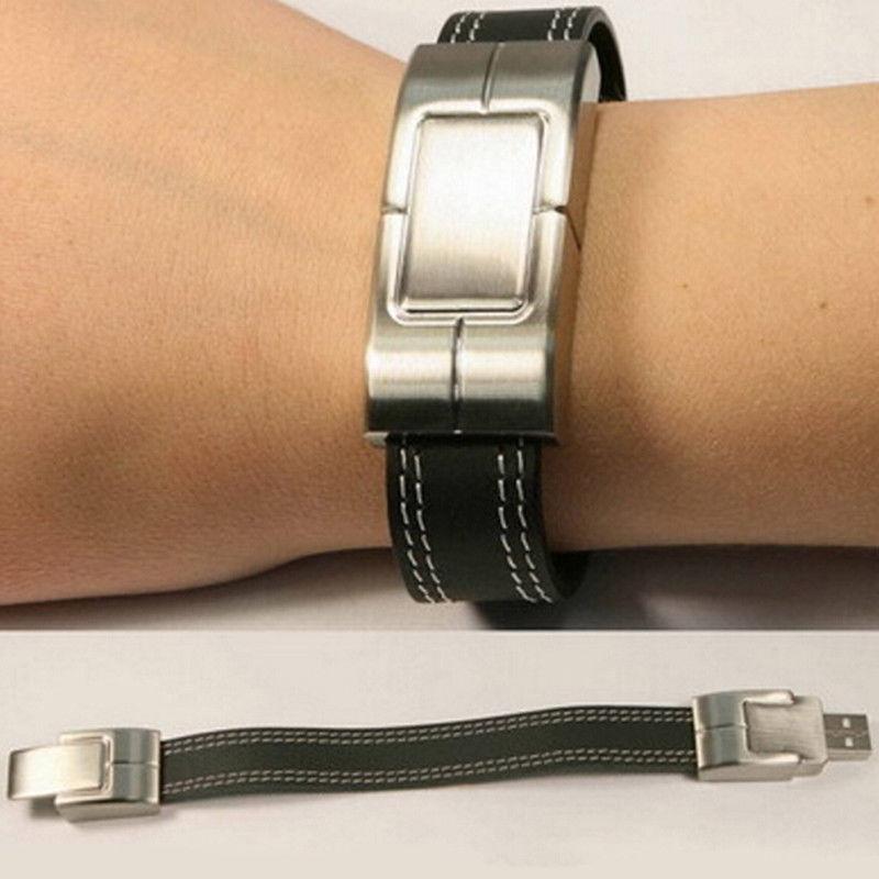 New Products Metal Leather Bracelet Fashion Style For Men 500Gb Usb 3.0 Flash Drive Custom Print Logo 16 64 32 Gb U Disk Stick - USBSKY   USBSKY.NET