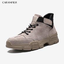 Мужские уличные кроссовки CARANFIER, однотонные дышащие Нескользящие баскетбольные кроссовки на шнуровке с круглым носком, на резиновой подошв...(Китай)