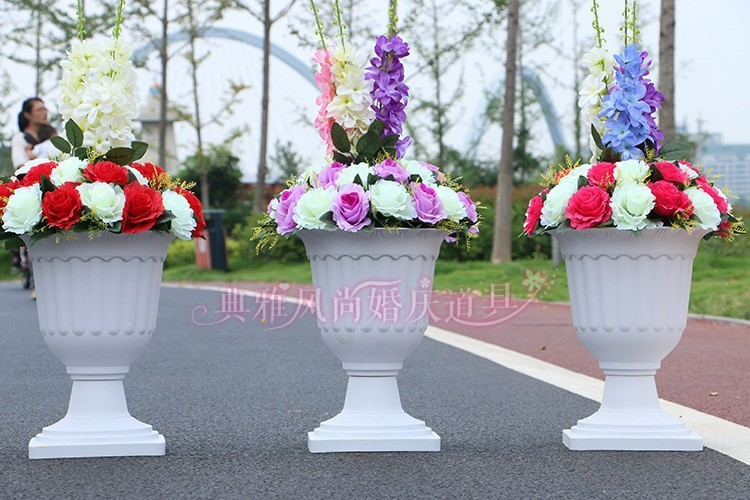 Wedding White Plastic Flower Pots For Roman Pillar Wedding