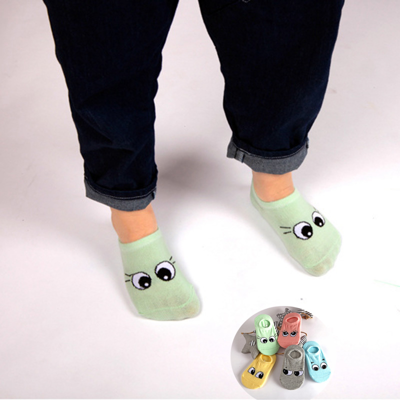 Spring Summer Baby Meias Socks 5 pairs lot 100 Cotton Unisex Big Eyes 3 Size Cute