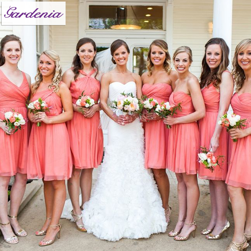 Coral Wedding Gowns: New Summer Style Short Wedding Party Gowns A Line