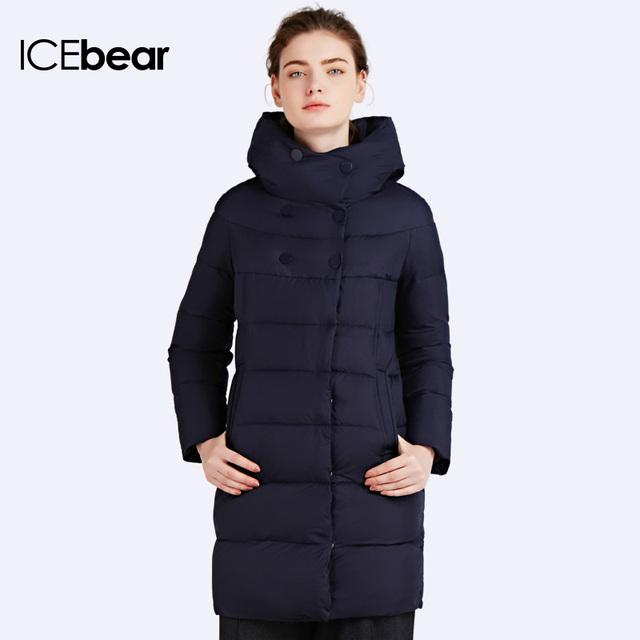 82daccd3154 ICEbear 2016 Новый бренд одежды Зимний женский пуховик Лаконичный стиль  пуховика Для миниатюрных девушек Подчеркивая Стройность