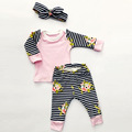 2016 baby girl clothing set long sleeve flower stripe T shirt pants headband 3pcs Infant bebe