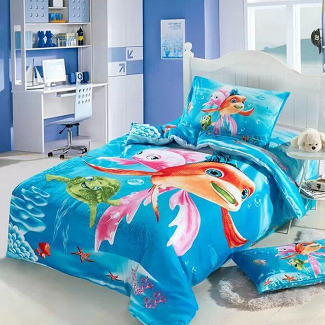 ocean kids girls cartoon bedding comforter set twin size bedspread bed in a bag sheet duvet. Black Bedroom Furniture Sets. Home Design Ideas