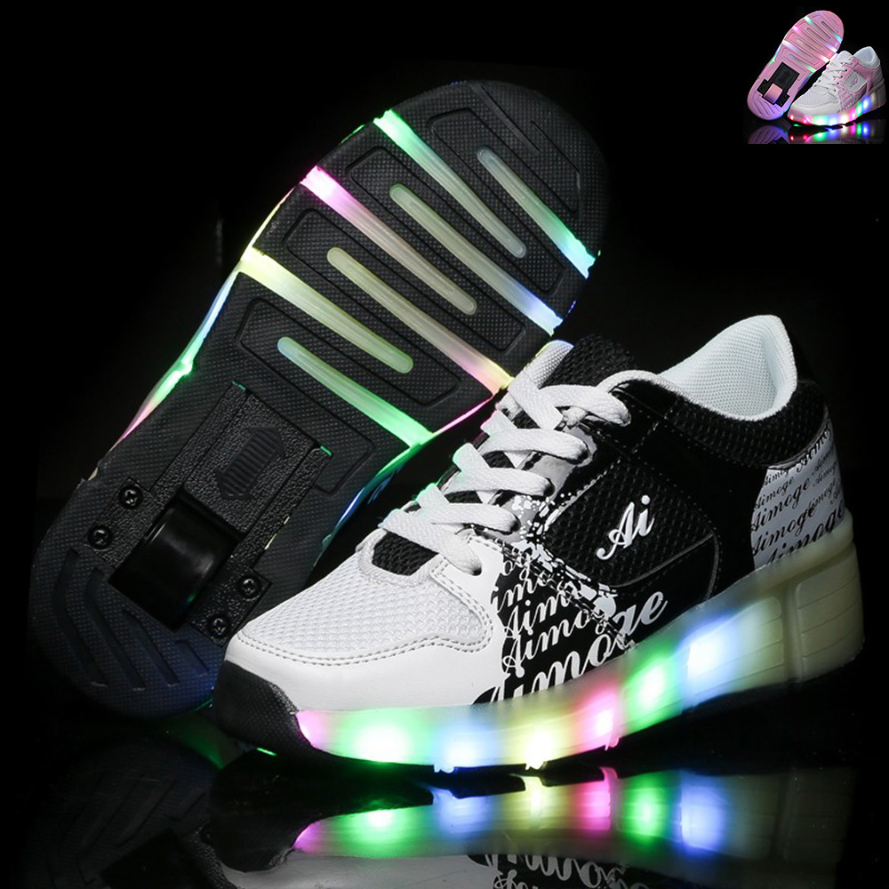 New summer Child Heelys Girls Boys LED Light Heelys Roller Skate Shoes Children Kids Breathable Sneakers