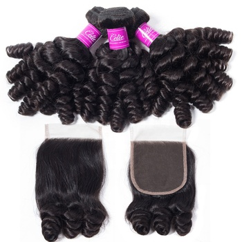 CELIE Funmi Curly Brazilian Human Hair with Frontal Closure Mink Cuticle Aligned Bundle with Closure Hair