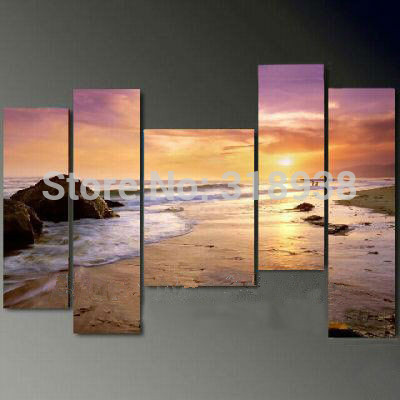 Framed Hand Paint 5 pieces beach sea seascape oil painting canvas art home decoration wall art oil painting Free shipping/W014