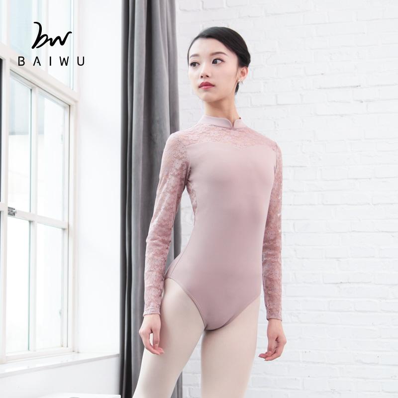 118141035 Baiwu трико, модная балетная одежда, розовые кружевные трико с длинным рукавом