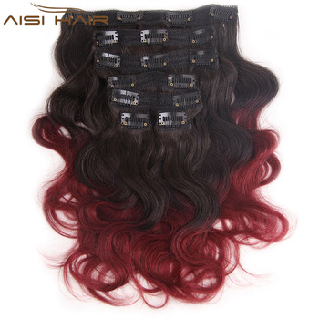 Long Body Wave Style 16 Hairpieces Clips In Hair Extension Brazilian Ombre Red Color Hair Pieces