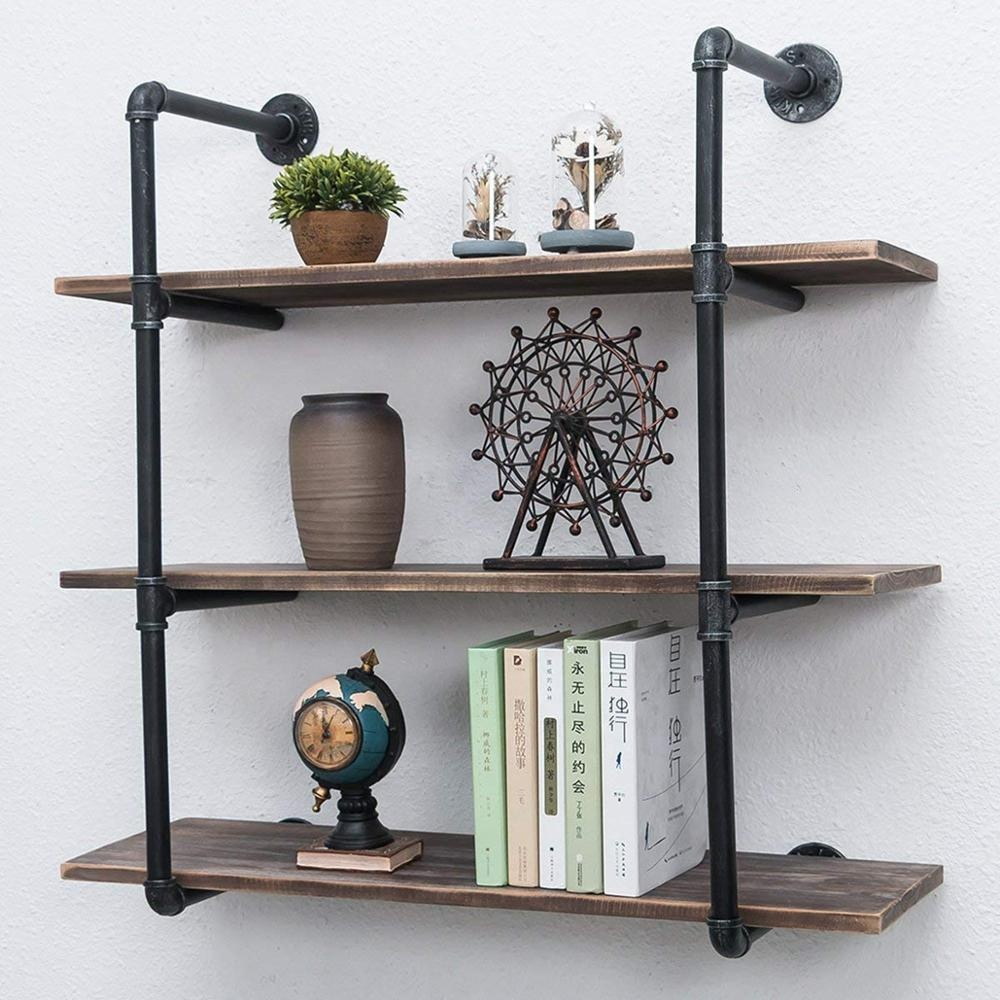 Industrial Pipe Shelves With Wood 20 tiers,Rustic Wall Mount Shelf ...