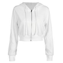 2c32e91df7edf women zip hooded plain white sporting active hooded hoodie jersey female  winter sweatshirt sweat shirt polerones