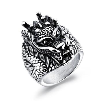 Punk vintage chinese traditional dragon design stainless steel man's ring