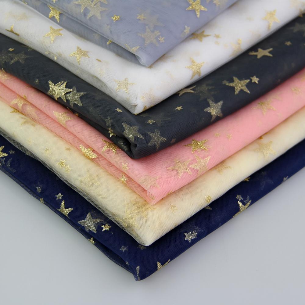 Горячая Распродажа, Тюлевая ткань с золотыми звездами и блестками для платья-пачки