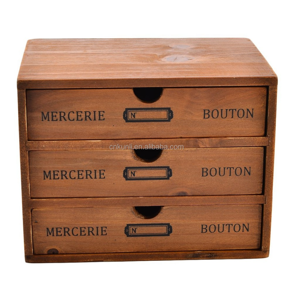mini 3 drawer desk organizer wooden storage chest box office desktop