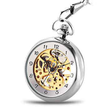 Silver Open Face Mechanical Hand Winding Skeleton Mens Watch Clock Pocket Watch