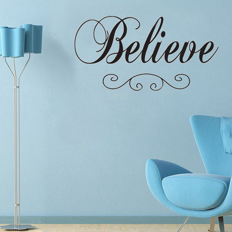 Believe Wall Decal PVC Art Simple Design Removable Living Room Wall Stickers Home Decor