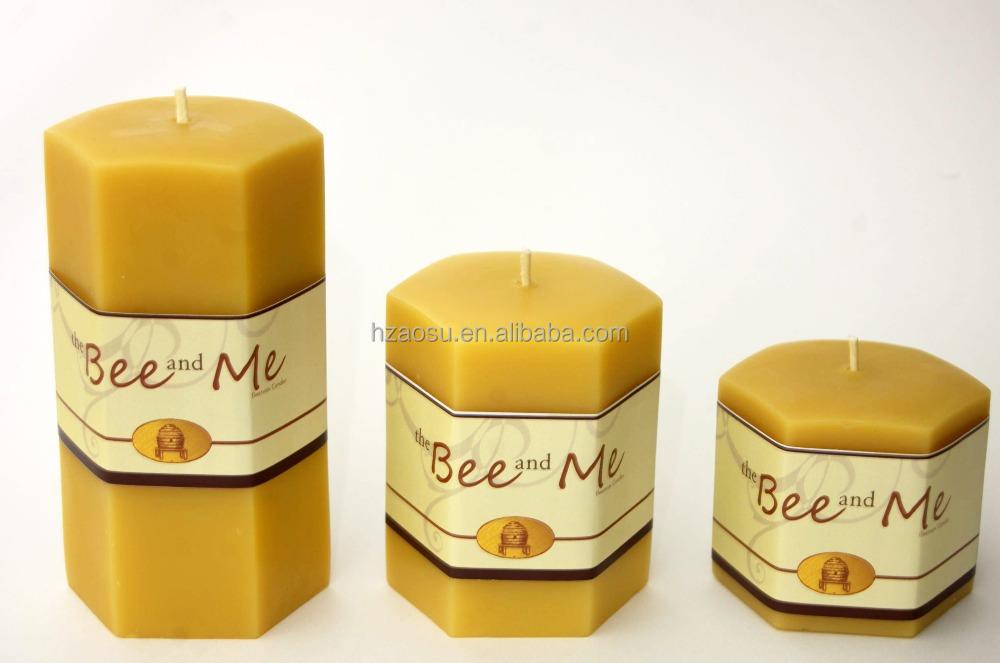 Natural bees wax pillar candle