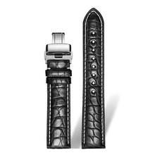 DOM ремешок для часов из крокодиловой кожи ремешок для наручных часов черный коричневый 18 мм 20 мм 22 мм 24 мм для мужчин и женщин(China)