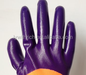 High quality 13gauge orange nylon liner purple nitrile half coated gloves produced factory in China