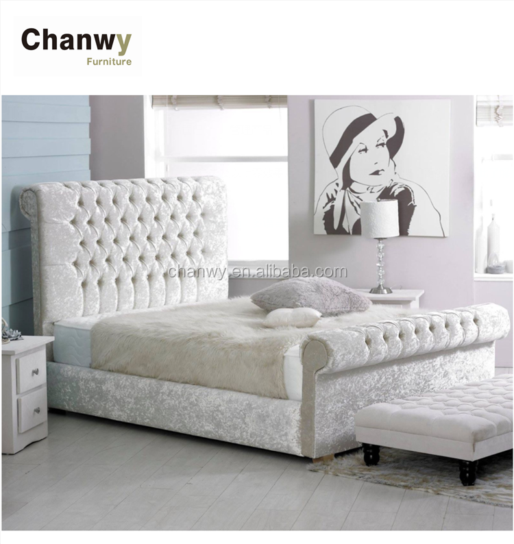 hot sale silver color double crushed velvet bed sleigh bed factory foshan