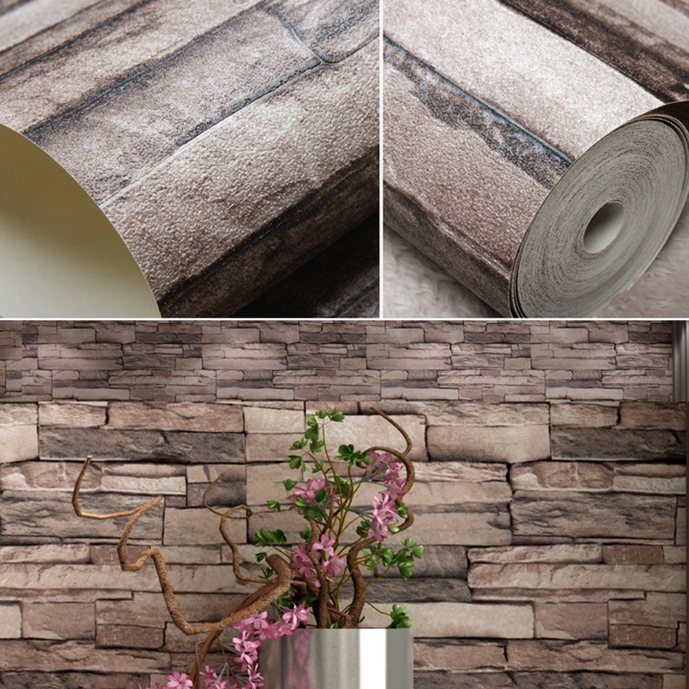 faux stone brick wallpaper - photo #8