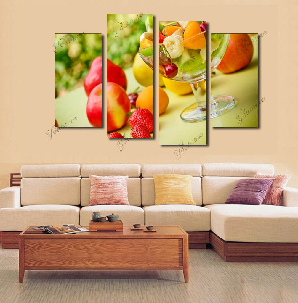 Modern 4 Piece Canvas Fruit Wall Decor Home Decoration