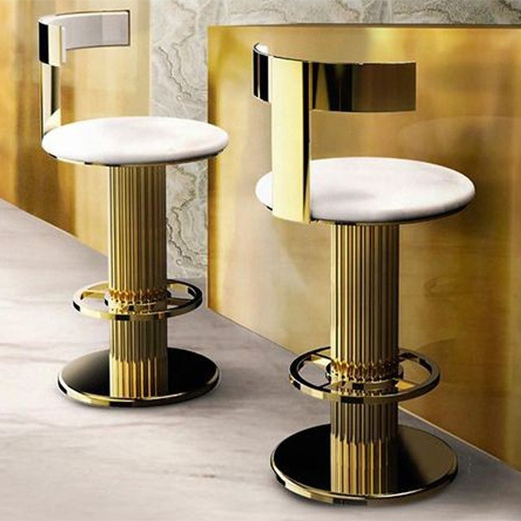 Brass electroplated American style luxurious bar stool swivel gold bar stool