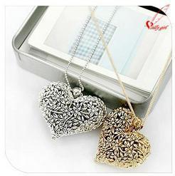 Антикварной сплава дерево в форме сердца любовь ожерелье бронзы и серебристый цвет D4R1C