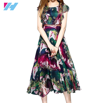 Yihao Wholesale Woman Chiffon Flare Dress Ladies Big Size European Fashion Casual Floral Print Maxi Dresses
