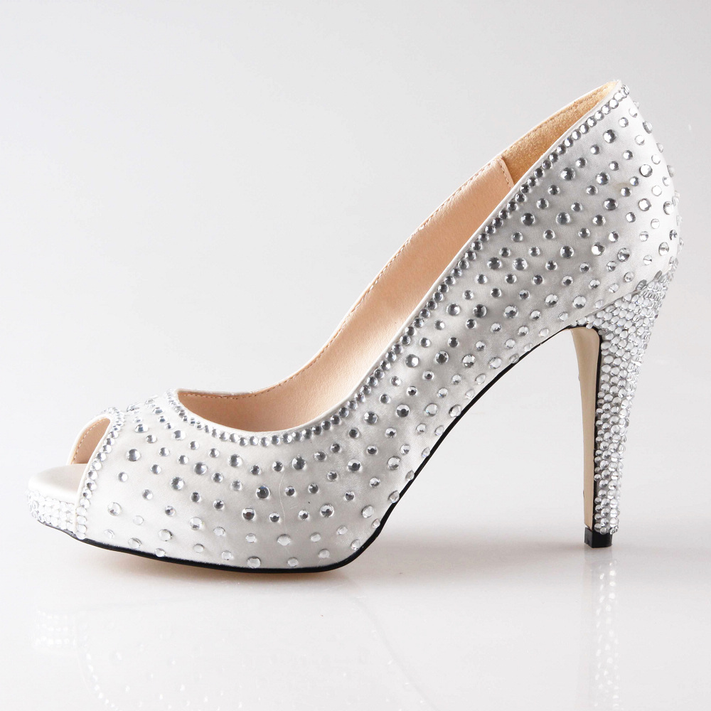 Clear Wedding Shoes With Rhinestones
