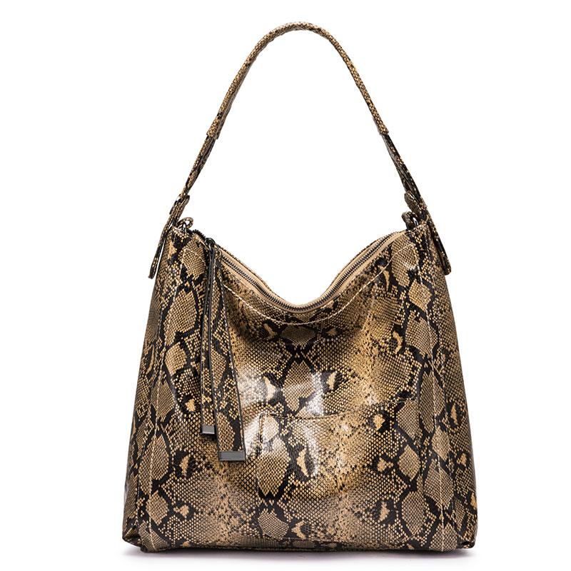 Женская сумка-хобо REALER, большая сумка через плечо с принтом змеиной кожи, роскошная сумка, 2020(Китай)