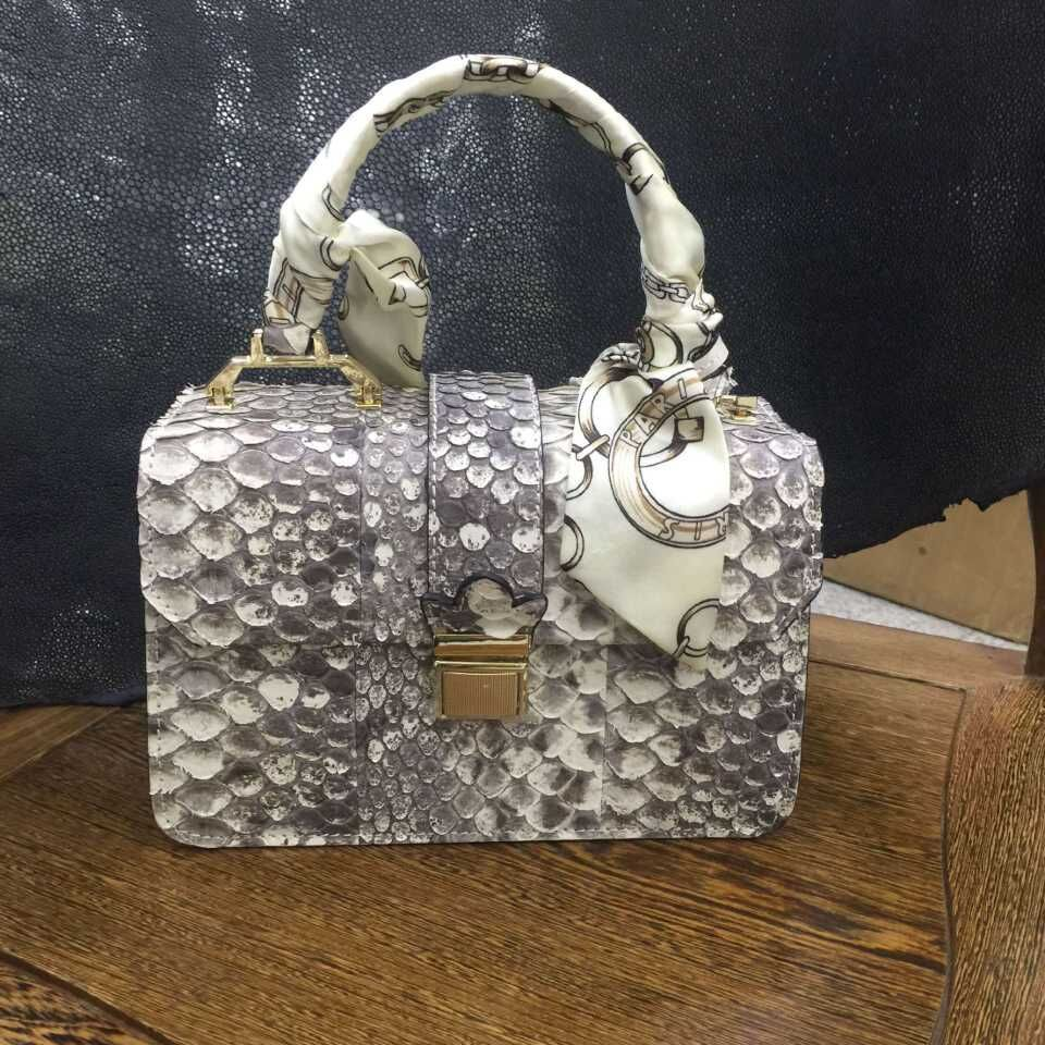 acheter luxe beige natrual motifs v ritable peau de python sac en cuir pour. Black Bedroom Furniture Sets. Home Design Ideas