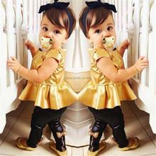 Children girls kids Clothing clothes Sets suits 2 pcs short sleeve Golden horn unlined upper garment