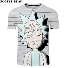 Цифровая футболка с 3D принтом Rick Morty для мужчин и женщин, летняя футболка с аниме Bule, футболка с надписью «Rick», Топы И Футболки черного цвета с...(Китай)