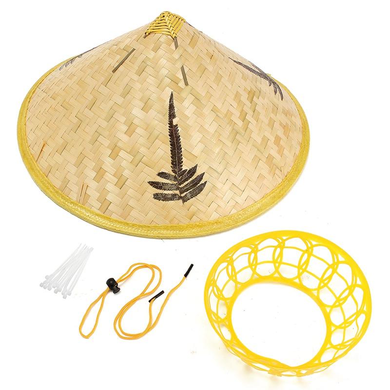 Ручной Листья Бамбука Тканые Шляпа Туризм Дождя Cap Костюм Конус Коническая Фермер Азии Китайский Страна Для Производительности Шоу