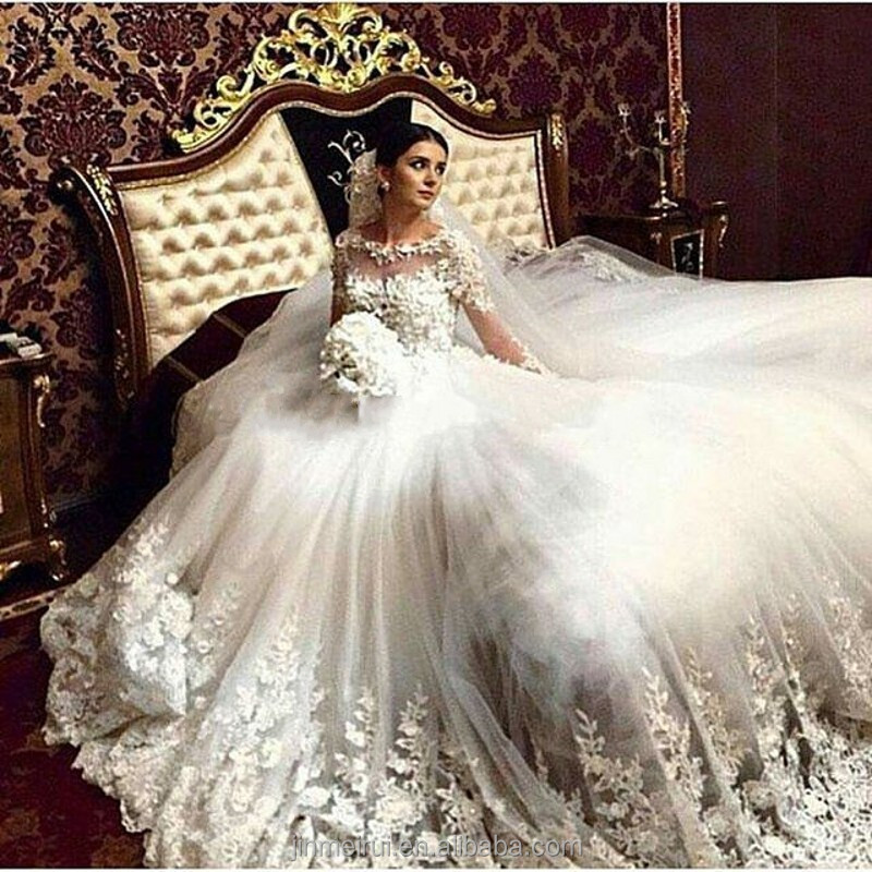 Long Sleeve Lace Appliques A-line White//Ivory Wedding Dresses Bridal Ball Gowns
