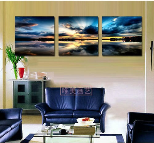 Handpainted Free Shipping Living Room Decorative Canvas Painting Modern Huge Picture Art Beach Sunset Painting