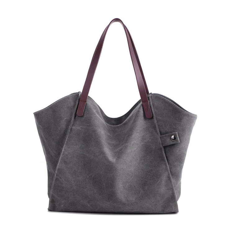 Custom Women Canvas Utility Tote Bag With Zipper