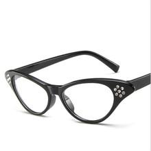 Ретро Стразы для очков Модные кошачий глаз близорукость оправа украшения прозрачные очки для женщин Красная/белая/черная оправа(Китай)