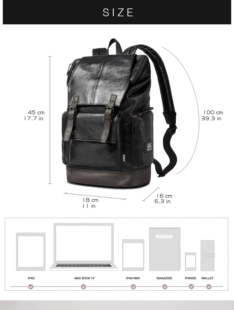 ba7a0a3278f7 Wholesale UIYI Fashion Men Black Backpack Leather Bag Men Travel ...