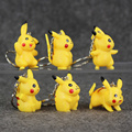 2016 New Pikachu Figure Keychains Toys Mini PVC Model Dolls Keychain 6pcs lot Free Shipping