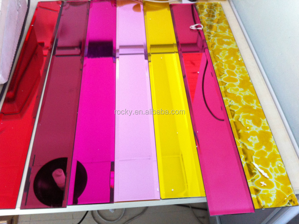 red colored glass mirror best 4-8mm high quality black bronze pink blue green grey red colored glass mirror