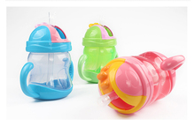 240ml Baby Bottle Kids Children Learn Feeding Drinking Water Straw Handle Bottle Training Cup 3 Colors