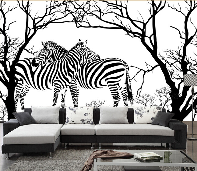 personnalis zebra papier peint noir et blanc anaglyphe arbre abstrait z bre peintures murales. Black Bedroom Furniture Sets. Home Design Ideas