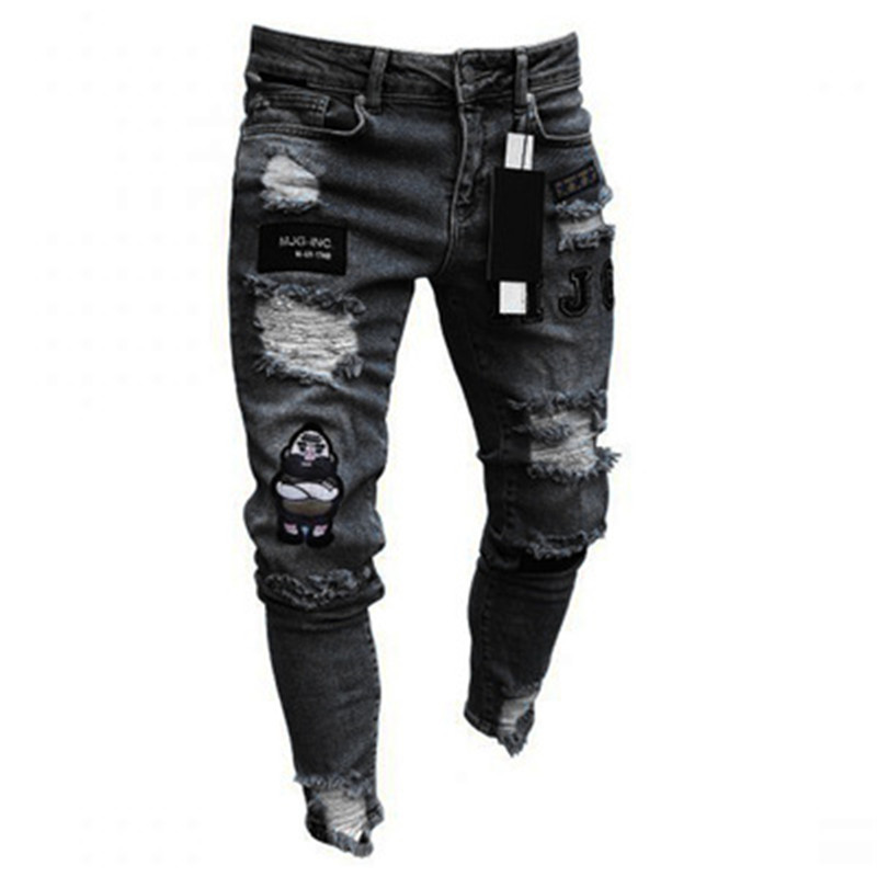 2021 Europea high wist men's  patch jeans  tapered wrinkle fashion denim pants