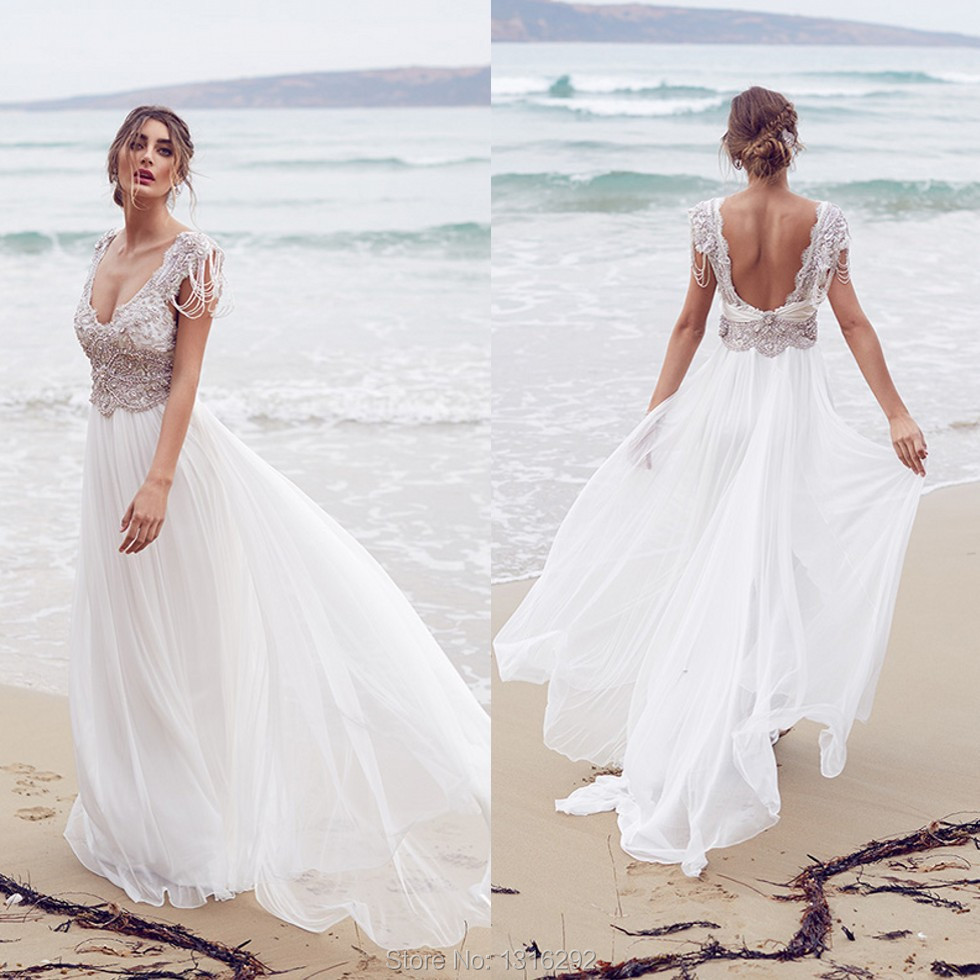 Vestidos De Novia 2015 White Chiffon Crystal Beaded Beach Wedding Dresses Backless Bridal Gowns - white dresses for a beach wedding
