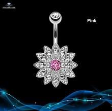 14G лепестки для пирсинга в пупок Ombligo серебристо-розовые Кристальные кольца для пирсинга живота колечки для пирсинга(Китай)