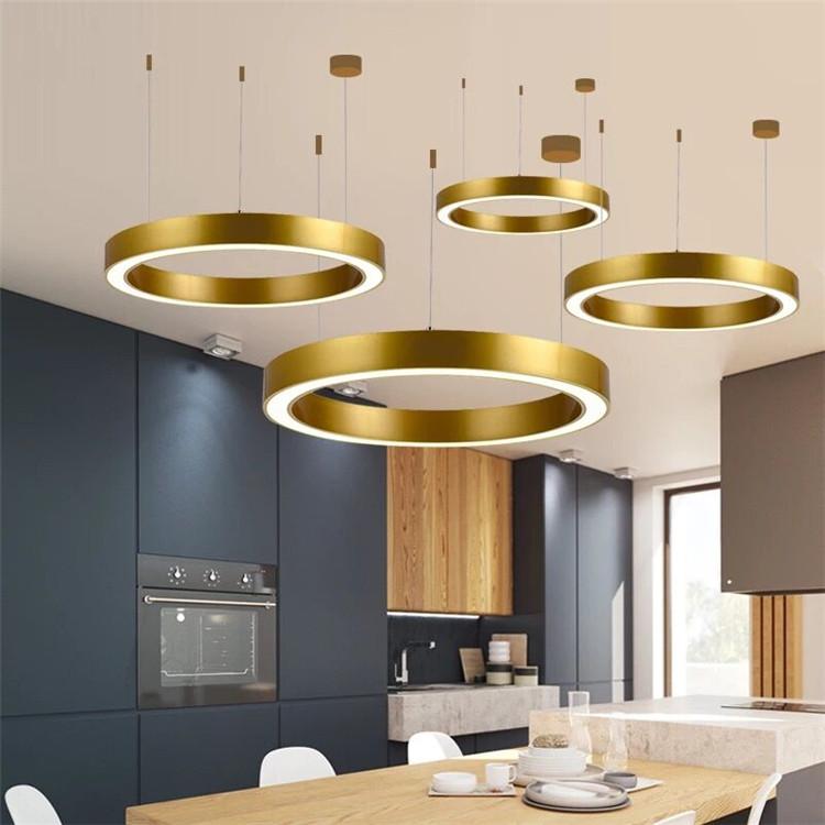 Оптовая продажа, круглая Золотая светодиодная подвесная люстра разного размера, производители освещения