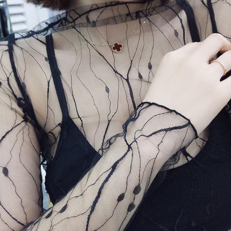 Пикантные прозрачные блузки со звездами; топы без подкладки; Верхняя одежда с длинными рукавами; модная куртка в Корейском стиле; ds50(Китай)