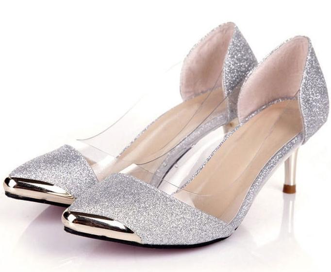 795ebb42a1efb Low Heel Silver Pumps - Qu Heel. Silver low heel womens ...
